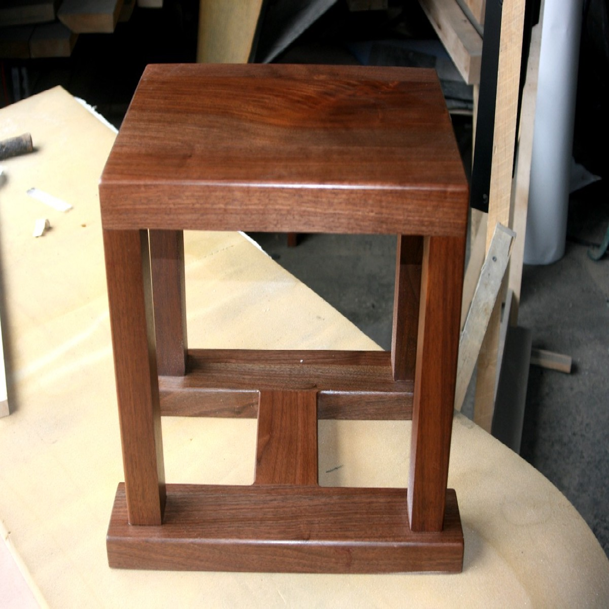 Square Walnut Speaker Stand