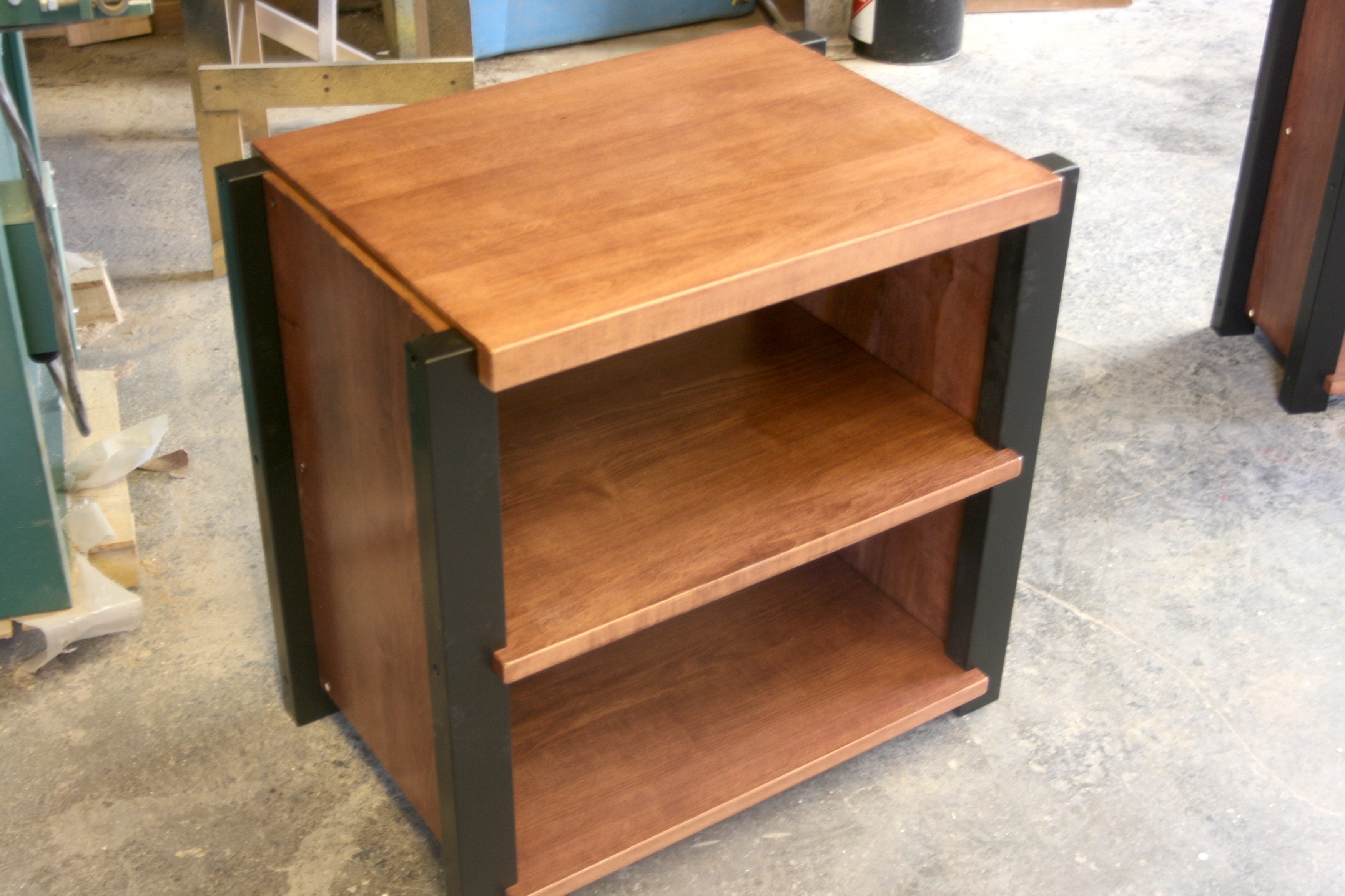 stereo rosewoodrecordrack rack rosewoodrack maple stain a and custom audio racks black posts with popup rosewood