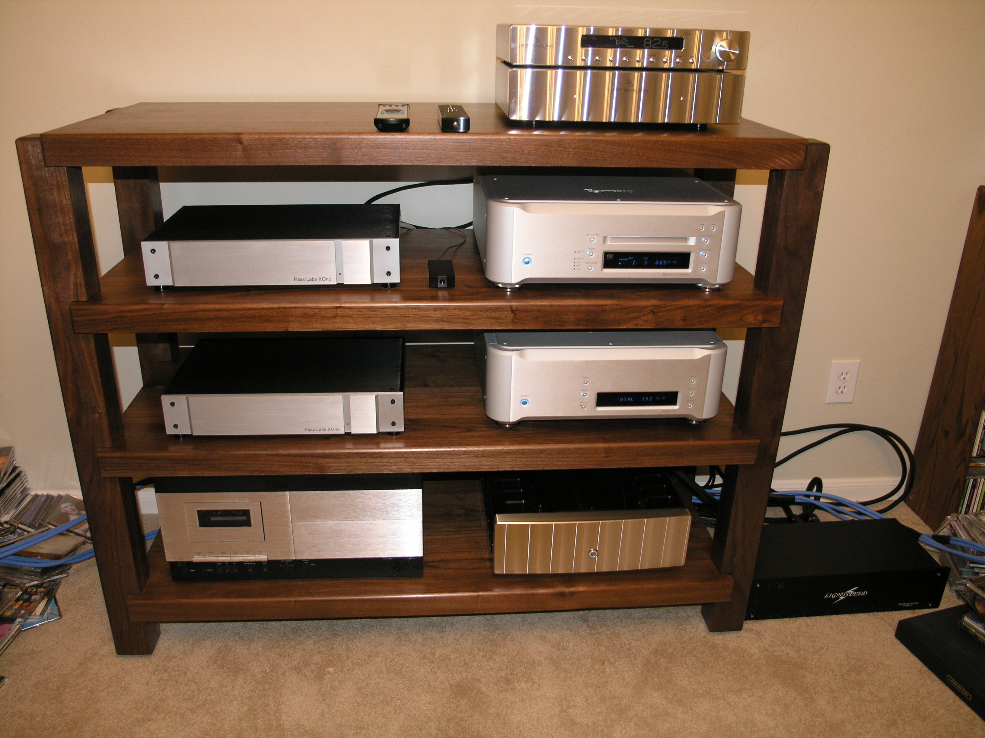 Walnut High End Audio Stereo Rack